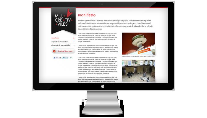 Diseño página web Milla Creativa de Avilés