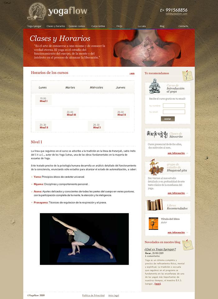 Diseño página web Yogaflow