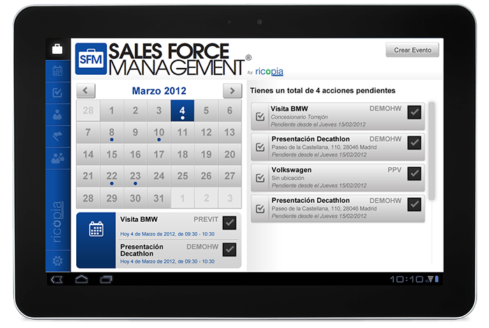 Desarrollo app móvil Sales Force Management by Ricopia