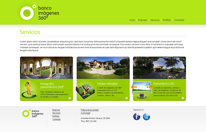 Diseño página web Banco Imágenes 360º
