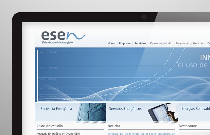 Aplicacion de logotipo de Esen Eficiencia y Soluciones Energéticas