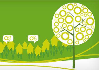 Diseño gráfico de cartel Jornadas sobre oportunidades de desarrollo sostenible
