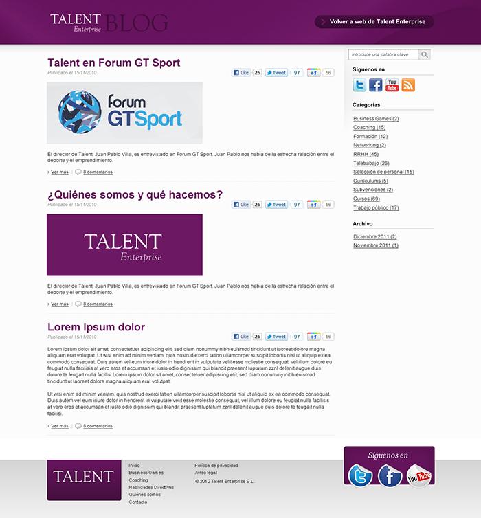 Diseño página web Talent Enterprise