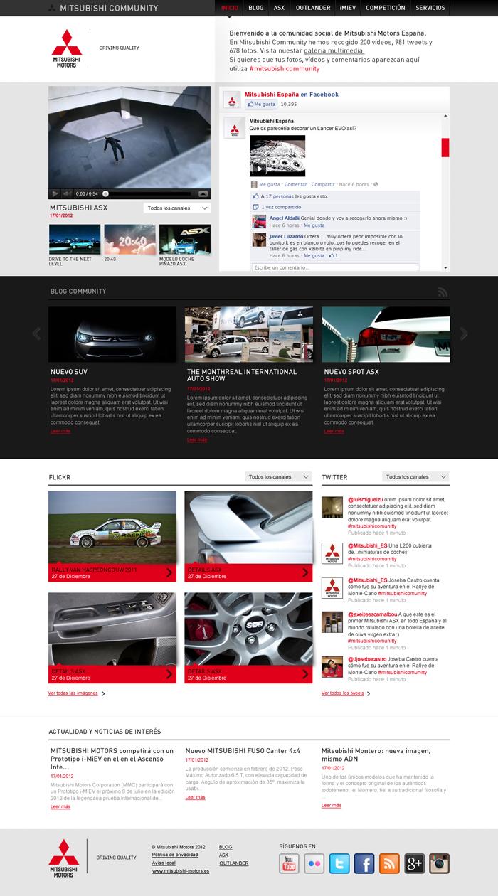 Diseño página web Mitsubishi Community