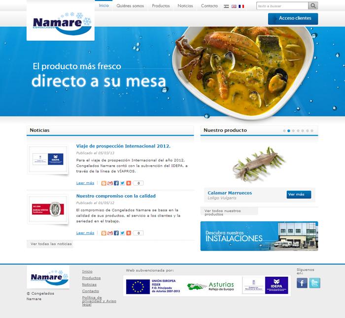 Diseño página web Congelados Namare