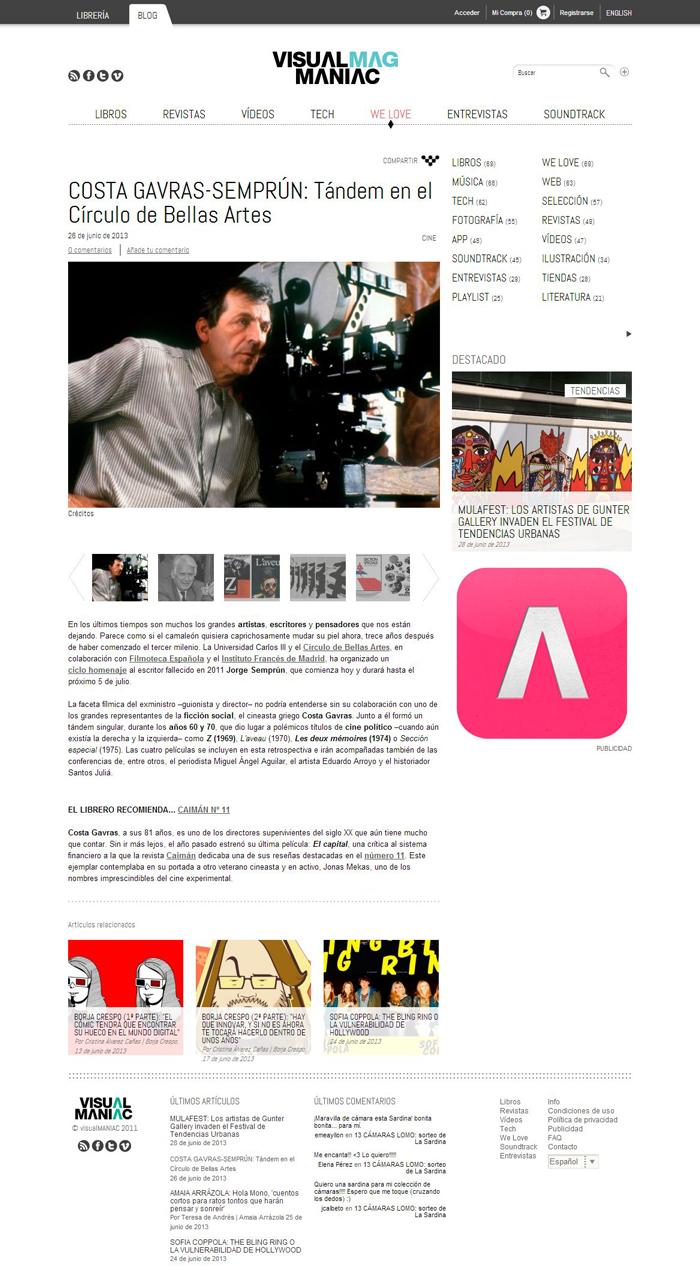 Desarrollo web VisualMag Maniac