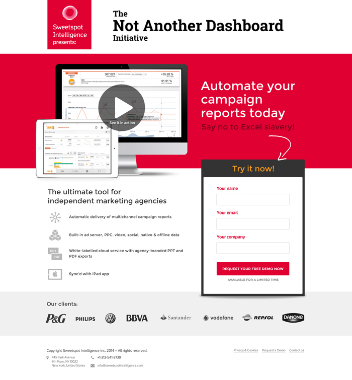 Diseño web landing page Not Another Dashboard
