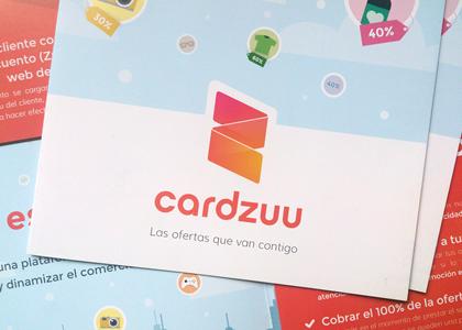 Diseño gráfico de folleto promocional Cardzuu
