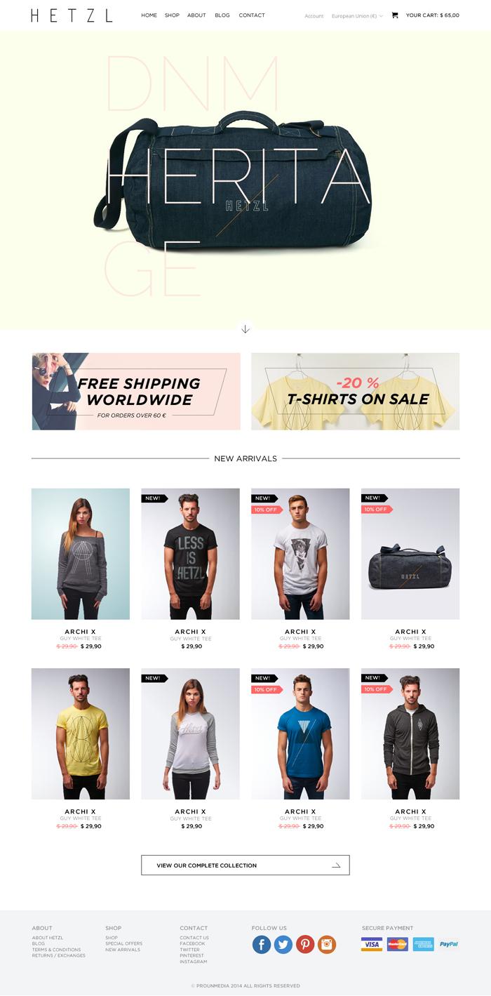 Diseño web tienda online HETZL Clothing